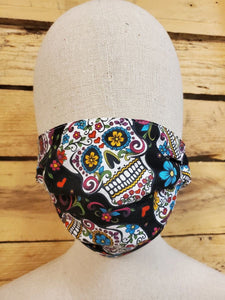 Adult sugar skull face mask with slot for filter