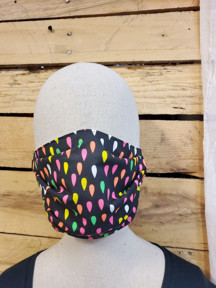 Neon rain drop face mask with slot for filter