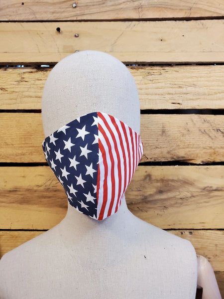Patriotic flag olson face mask with slot for filter