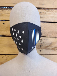 Police officer blue stripe face mask witb slot for filter