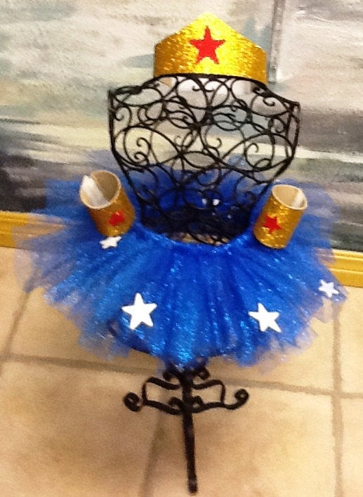 Adult Wonder Woman tutu costume with cape, tiara, cuffs, and rope