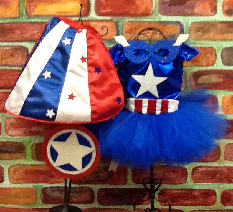 Mis Captain America inspired  tutu no mask no shield for that special super hero birthday, girls halloween costume