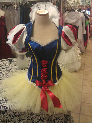 Adult Snow White tutu costume top and cape