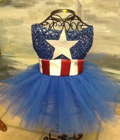 Captain America  crochet tutu dress  costume complete
