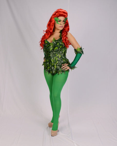 Custom Uma Thurman inspired Poison Ivy leotard with wig,cape,gloves and tights