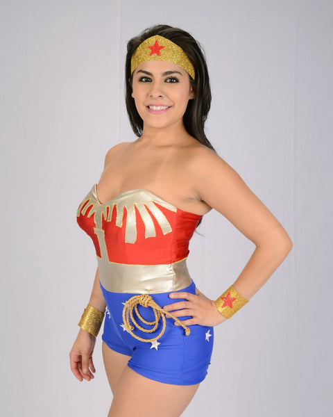 Wonder Woman tiara, cuffs, and lasso of truth