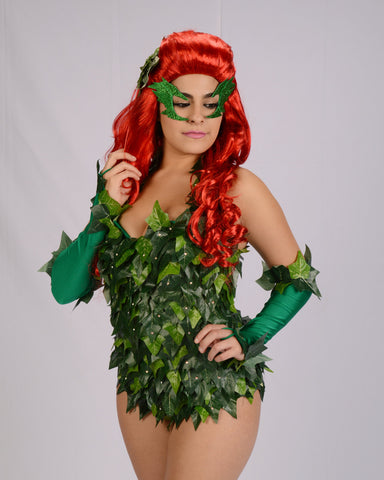 Poison ivy Accessories Wig, Gloves, Eye mask, Hair clip, Green tights