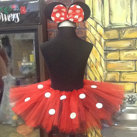 Adult Minnie mouse tutu with tail and light up polk a dot bow with mouse ears
