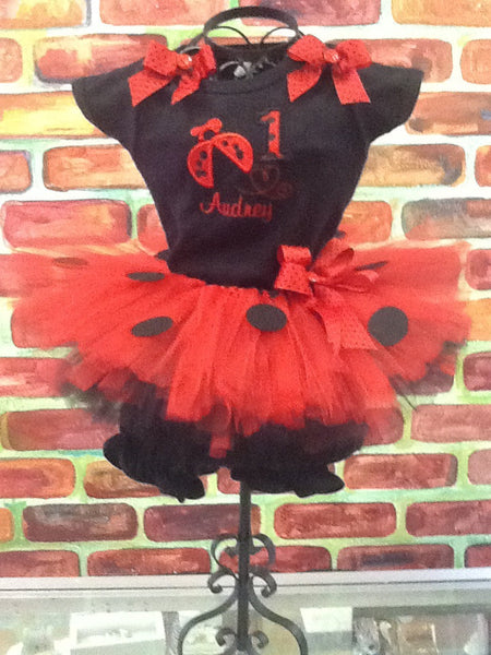 Lady Bug Tutu with personalized shirt and bloomer set, lady bug birthday tutu
