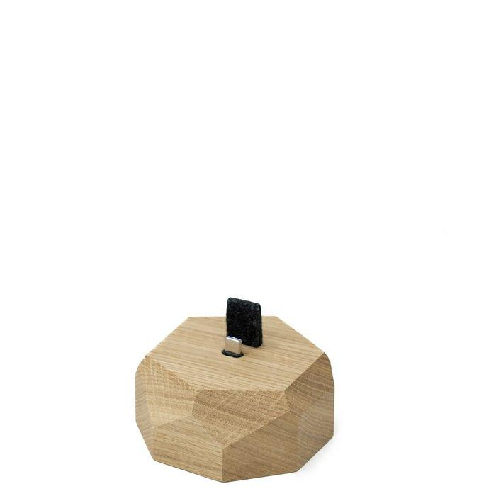 Wooden Android Dock (micro-USB) - Polygonal - Oak