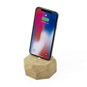 Wooden iPhone Dock - Polygonal - Oak