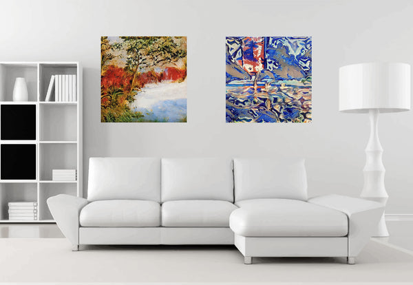 Living room with AI paintings