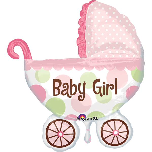 Globo Metalico 28 Baby Girl Carriola