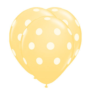 Globos Polka Dots Latex 12 Amarillo