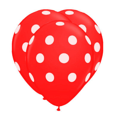 Globos Polka Dots Latex 12 Rojo
