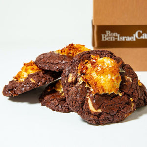 Box of 5 gluten free double chocolate coconut cookies for delivery