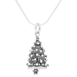 Christmas Tree Sterling Silver Bell Pendant Charm Necklace