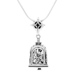 Nativity Sterling Silver Bell Pendant Necklace