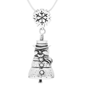 Snowman Sterling Silver Bell Pendant Necklace