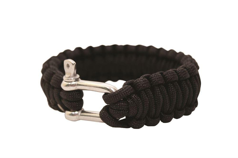 "BCB Paracord Bracelet 9"" Black Metal Buckle"