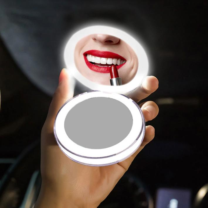 Round Lighted Makeup Mirror Travel