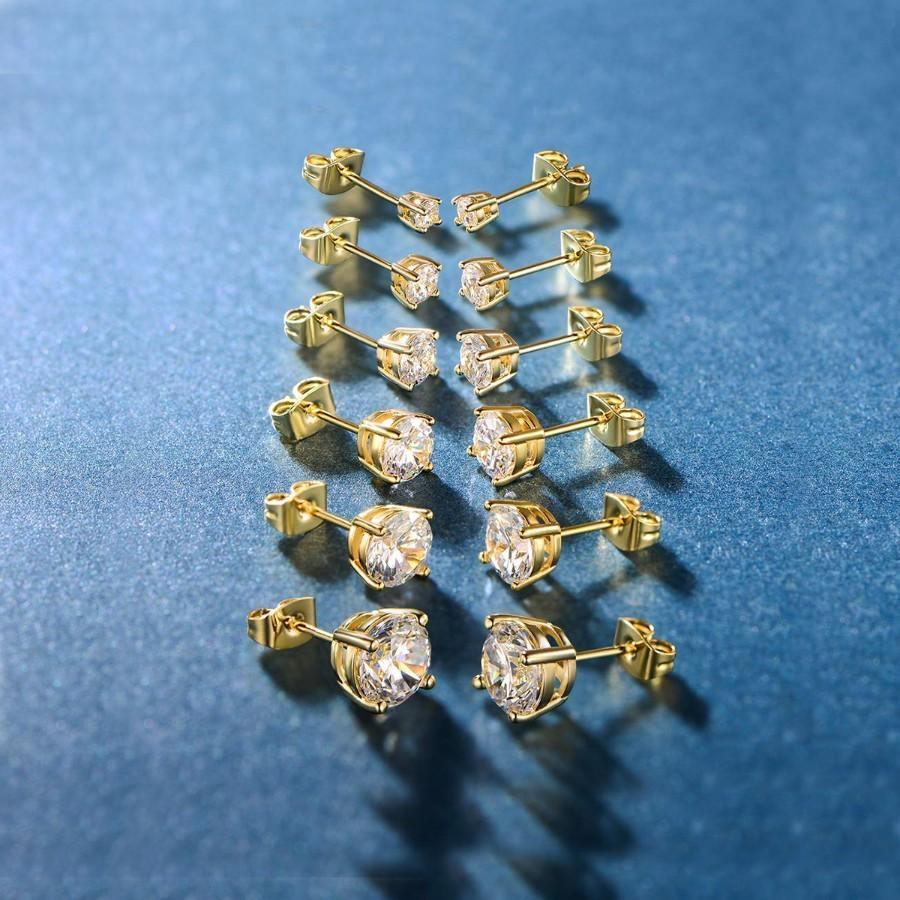 6 Piece Graduating Classic Swarovski Elements Studs in 14K Gold