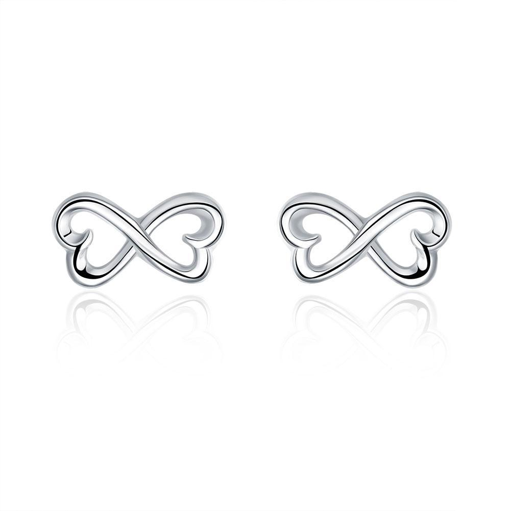 Infinity Heart Stud Earring in 18K White Gold