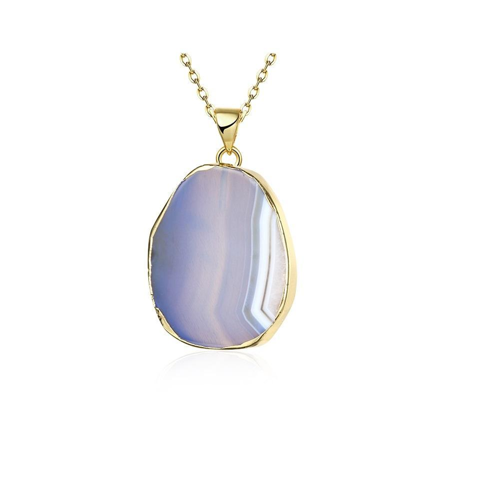 Blue Agate Natural Stone Necklace 18K Gold