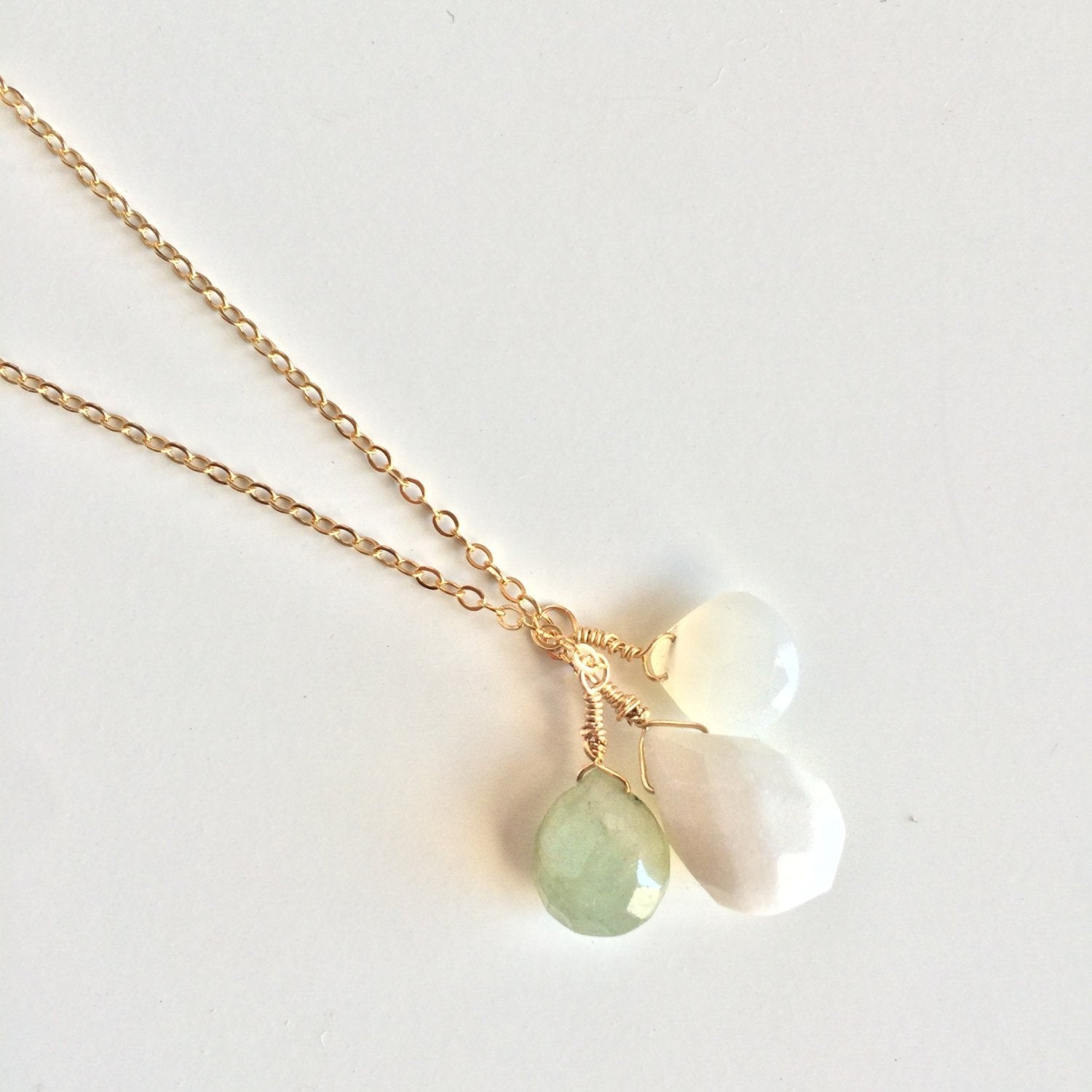 Amazonite, Moonstone and Snow Quartz Sterling Silver Necklace