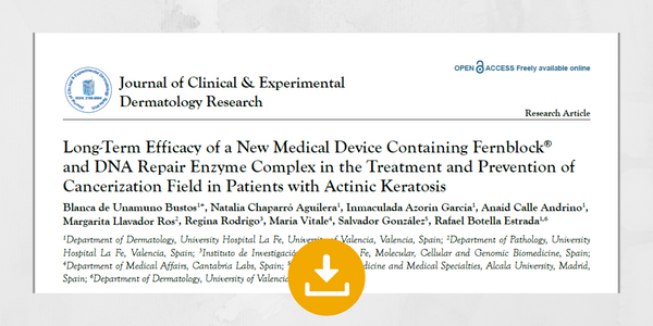 Long-Term Efficacy of a New Medical Device Containing Fernblock® and DNA Repair Enzyme Complex in the Treatment and Prevention of Cancerization Field in Patients with Actinic Keratosis