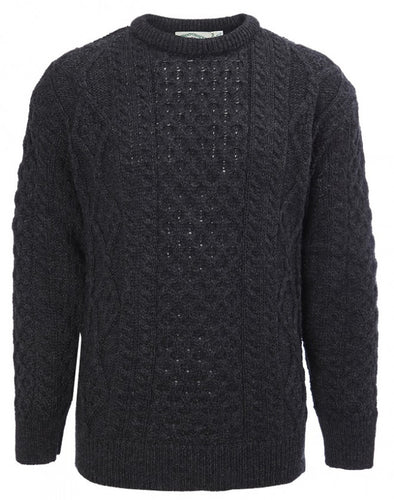 Classic Aran Jumper Traditional Unisex Crew Neck Sweater - C1347 - Yarmo Group