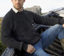 Load image into Gallery viewer, Traditional Irish Mens Crew Neck Sweater Jumper - Charcoal - C761
