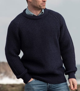 Traditional Men's Jumper, Rib Crew Neck Fishermans Sweater - Navy