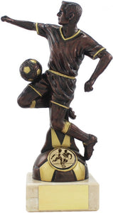Black Player White Marble Base Football Trophy