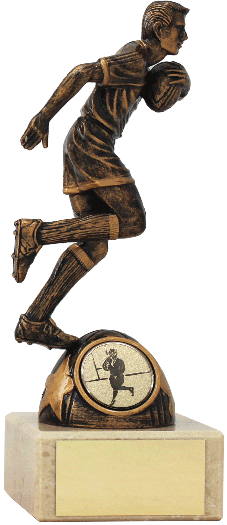 Bronze Boy Holding Ball Rugby Trophy