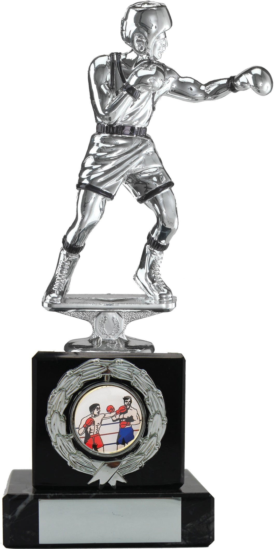 Silver Boxer Fighting on Black Marble look Plinth Boxing Trophy.