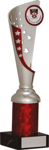 Silver/Red Fluted Trophy Tall