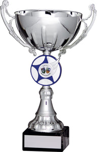 Silver/Blue Cup With Badge Trophy