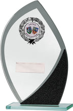 Load image into Gallery viewer, Glass With Badge Flame Shaped Plaque Trophy