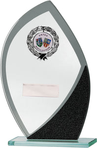 Glass With Badge Flame Shaped Plaque Trophy