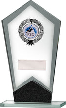 Load image into Gallery viewer, Glass Plaque Trophy With Blue Emblem