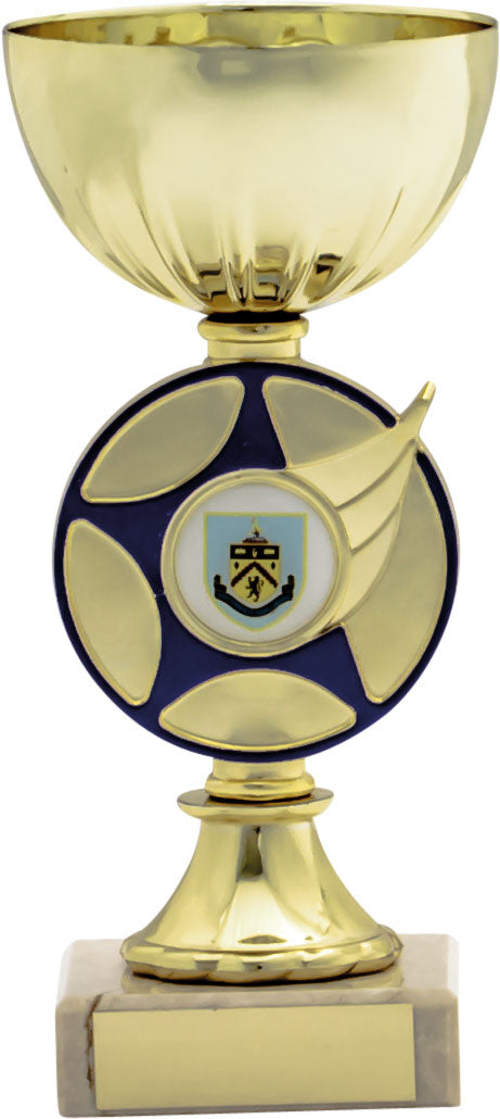 Gold/Blue Cup With Disc & Badge Trophy