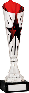 Silver/Red Cut Out Star Cone Trophy