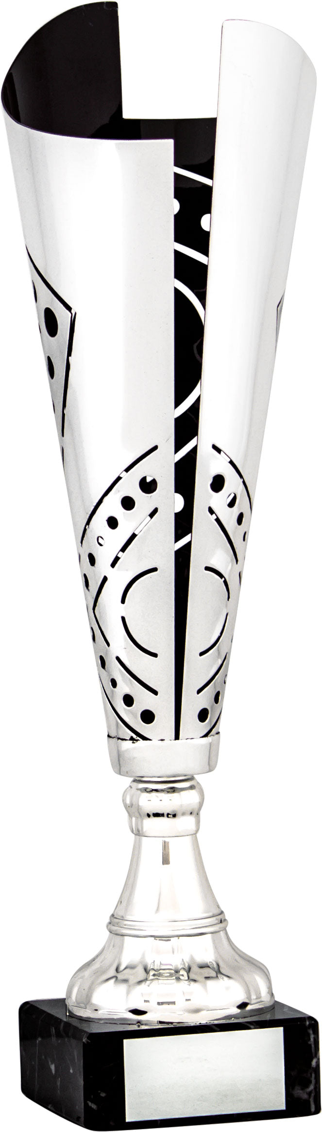 Silver/Black Cut Out Pattern Cone Trophy