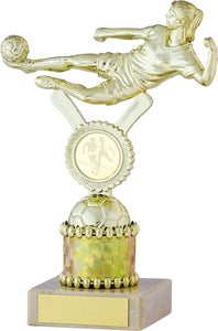Gold and Silver Female Football Column Trophy