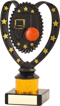 Load image into Gallery viewer, Black with Red Ball Basketball Trophy
