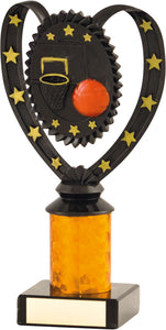 Black with Red Ball Basketball Trophy