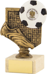 Gold Boot and Net Smaller Marble Base Football Trophy