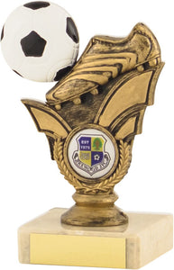 Gold Boot Smaller Marble Base Football Trophy