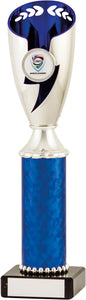 Silver/Blue Fluted column Trophy